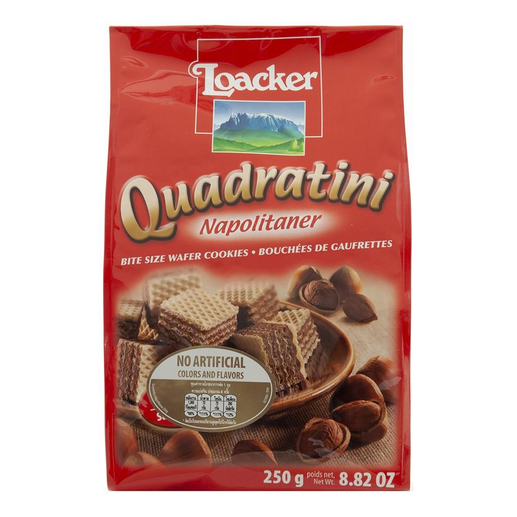 ข้อมูลโภชนาการ แคลอรี่ ควอดาตินิ-นาโปลิเทนเนอร์-เวเฟอร์ชิ้นเล็ก-สอดไส้ครีมเฮเซลนัด-quadratini-napolitaner-bite-size-wafers-cookies